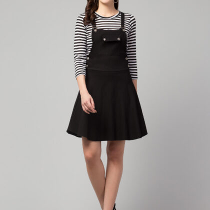 Black Blended Women's Dungaree Dress with Top